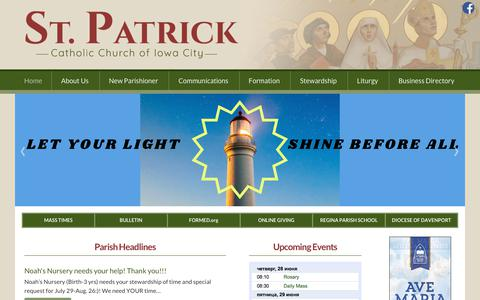 Screenshot of Home Page stpatsic.com - St. Patrick Catholic Church, Iowa City, IA - captured June 29, 2018