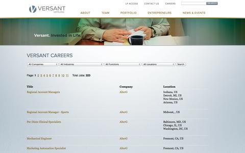 Screenshot of Jobs Page versantventures.com - Versant Careers | Versant Ventures - captured Oct. 1, 2014