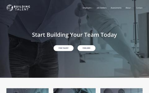 Screenshot of Home Page buildingtalent.com - Building Talent - captured Nov. 13, 2018