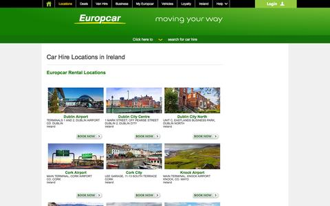 Screenshot of Locations Page europcar.ie - Hire Locations - captured Jan. 17, 2016