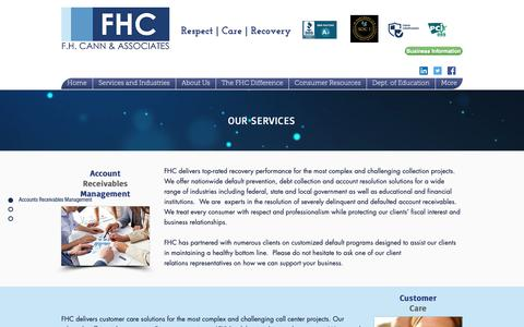 Screenshot of Services Page fhcann.com - F.H. Cann and Associates, Inc.- Collections and Loan resolutions in MA | Our Services - captured Oct. 2, 2018