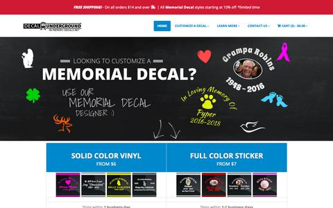 Screenshot of Home Page in-memory-decals.net - Custom Memorial Auto Decals | In Memory Decals - captured Nov. 2, 2018
