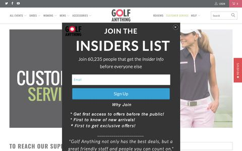Screenshot of Support Page golfanything.com - Customer Service - Golf Anything US - captured Sept. 29, 2018