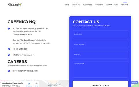 Screenshot of Contact Page greenkogroup.com - Greenko Group - captured Sept. 30, 2018