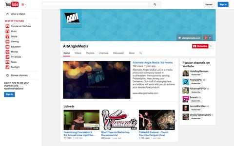 Screenshot of YouTube Page youtube.com - AltAngleMedia  - YouTube - captured Oct. 23, 2014