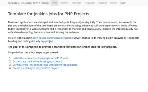 Screenshot of Home Page jenkins-php.org - Template for Jenkins Jobs for PHP Projects - captured Sept. 24, 2014