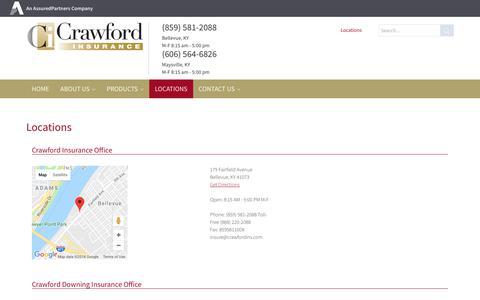 Screenshot of Locations Page crawfordins.com - Crawford > Locations - captured Sept. 30, 2018