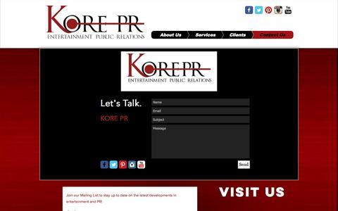 Screenshot of Contact Page korepr.com - Contact Us - captured Nov. 27, 2016