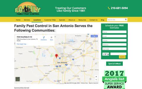 Screenshot of Locations Page familypestcontrol.com - Locations | Family Pest Control - captured Aug. 12, 2018