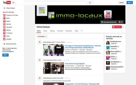 Screenshot of YouTube Page youtube.com - immo-locaux  - YouTube - captured Oct. 23, 2014