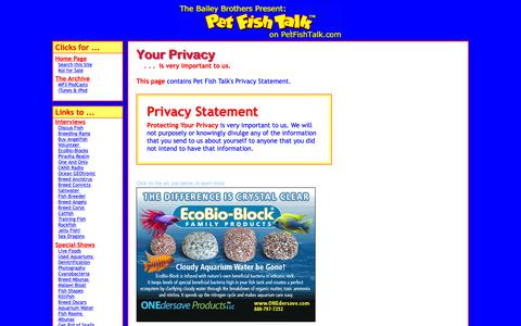 Screenshot of Privacy Page petfishtalk.com - Privacy Policy for Pet Fish Talk - the Internet Talk Show about Keeping Pet Fish in Aquariums, Fish Bowls, and Ponds. - captured Oct. 22, 2018