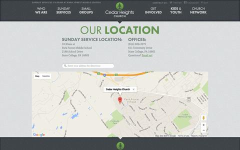 Screenshot of Contact Page Maps & Directions Page cedarheights.net - Cedar Heights Church - captured June 17, 2016