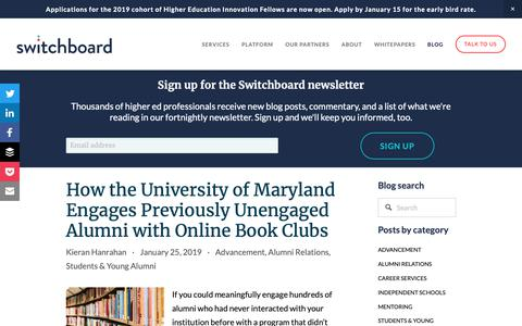 Screenshot of Blog switchboardhq.com - Switchboard Alumni Engagement & Giving Blog | Switchboard - captured Feb. 15, 2019