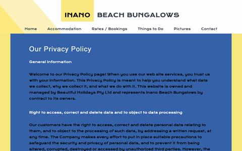 Screenshot of Privacy Page inanobeach.com - Contacts - captured Dec. 19, 2018