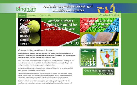 Screenshot of Home Page binghamgroundservices.co.uk - Synthetic grass & multi sport equipment - Bingham Ground Services - captured Sept. 30, 2014