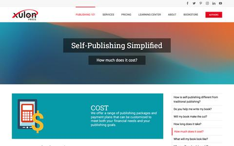 Screenshot of Pricing Page xulonpress.com - Self-Publishing Simplified - How much does it cost? - captured March 1, 2018
