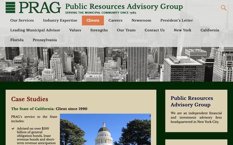 Screenshot of Case Studies Page pragadvisors.com - Case Studies   Public Resources Advisory Group - captured Sept. 30, 2018