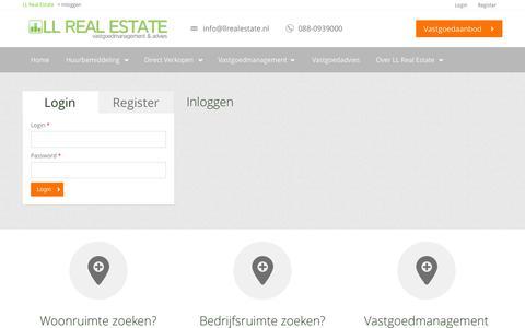 Screenshot of Login Page llrealestate.nl - Inloggen   LL Real Estate - captured Sept. 26, 2014