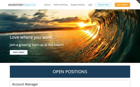 Screenshot of Jobs Page inventorysource.com - Inventory Source Careers | Join a Growing Startup - captured Sept. 22, 2018