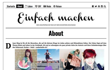 Screenshot of About Page einfach-machen.blog - About | einfach-machen.blog: Modeblog & Lifestyleblog - captured Aug. 29, 2017