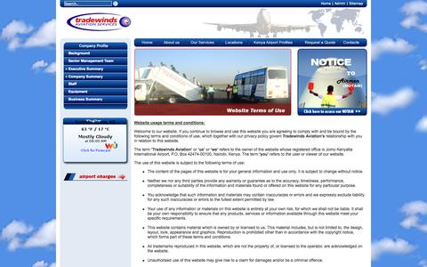 Screenshot of Terms Page tradewindskenya.com - :: Welcome to Tradewinds Aviation :: - captured Oct. 7, 2014