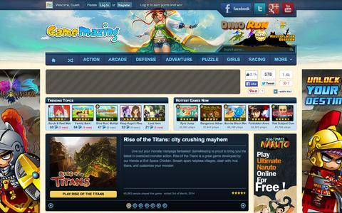 Screenshot of Home Page gamemazing.com - GameMazing.com: The most amazing Flash and browser games - captured Sept. 18, 2014
