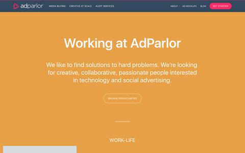 Screenshot of Jobs Page adparlor.com - Careers | AdParlor - captured Aug. 10, 2018