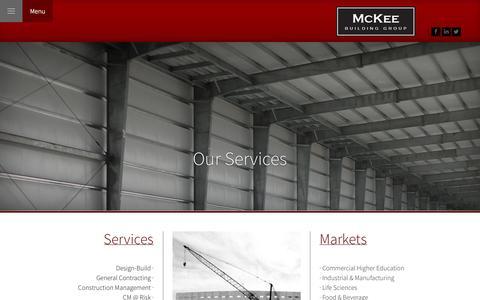 Screenshot of Services Page mckeebuildinggroup.com - Our Services | McKee Building Group - captured Oct. 27, 2014