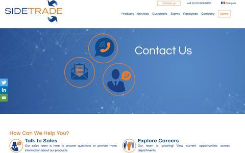 Screenshot of Contact Page sidetrade.com - Contact   Sidetrade - captured Feb. 11, 2019