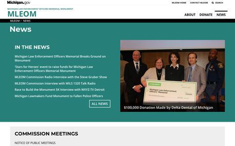 Screenshot of Press Page michigan.gov - MLEOM - News - captured Oct. 26, 2018