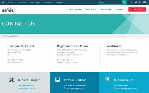 Screenshot of Contact Page impinj.com - Contact Impinj - captured May 2, 2017