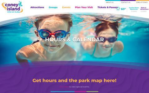 Screenshot of Hours Page coneyislandpark.com - Hours & Park Map | Coney Island Cincinnati - captured Sept. 23, 2018