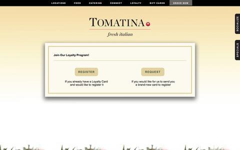 Screenshot of Signup Page tomatina.com - Tomatina | Loyalty Join Check - captured Oct. 7, 2014