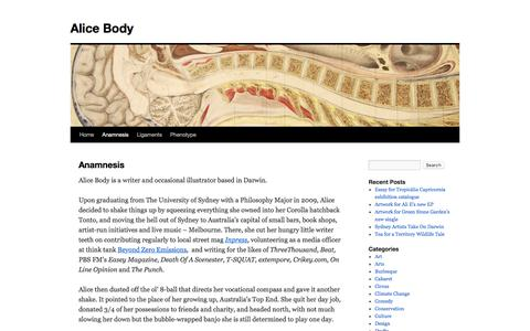 Screenshot of About Page alicebody.com - Anamnesis   Alice Body - captured May 14, 2016