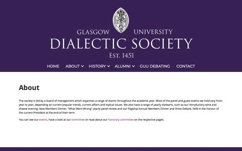 Screenshot of About Page gudialectic.co.uk - About - GU Dialectic Society - captured Sept. 27, 2018