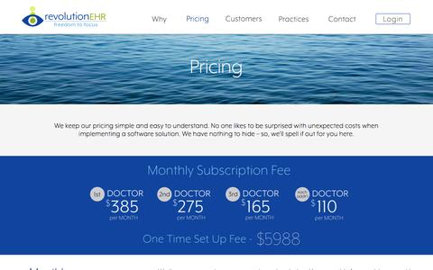 Screenshot of Pricing Page revolutionehr.com - Pricing | RevolutionEHR - captured Feb. 26, 2017