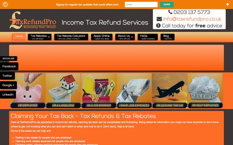 Screenshot of Home Page taxrefundpro.co.uk - Tax Refund & Tax Rebate Services | Tax Refund Pro - captured Oct. 7, 2014