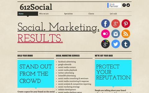 Screenshot of Home Page 612social.com - Social media marketing services - captured Aug. 17, 2016