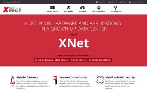 Screenshot of Home Page xnet.com - XNet - Data Center, Cloud, Colocation Services | Chicago - captured Sept. 30, 2014