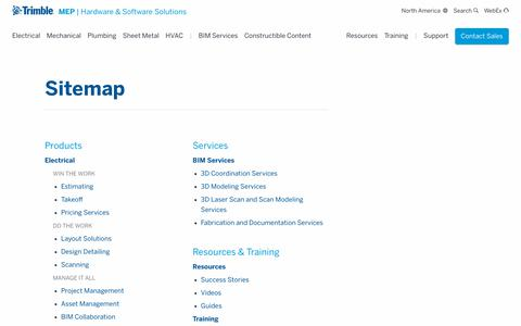 Screenshot of Site Map Page trimble.com - Sitemap | Solutions For MEP Contractors | Trimble MEP - captured Oct. 24, 2018