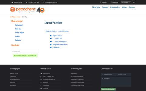 Screenshot of Site Map Page petrochem.pt - Mapa do site Petrochem.pt - captured Sept. 28, 2018