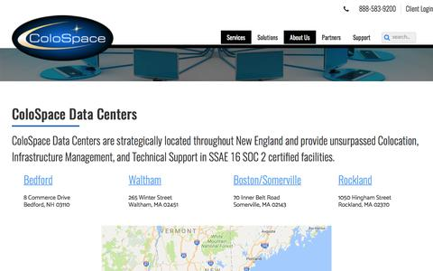 Screenshot of Locations Page colospace.com - ColoSpace Data Centers - ColoSpace - captured Aug. 13, 2017