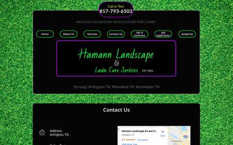 Screenshot of Contact Page hamannlandscape.com - Hamann Landscape Services - Contact Us - captured Sept. 26, 2018