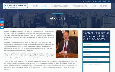 Screenshot of About Page cjalaw.com - Top Bankruptcy Law Firm in NYC: Charles Juntikka & AssociatesCharles Juntikka & Associates - captured Jan. 27, 2016