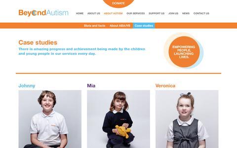 Screenshot of Case Studies Page beyondautism.org.uk - Case studies - Beyond Autism - captured July 29, 2016