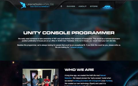 Screenshot of Jobs Page unknownworlds.com - charlie@unknownworlds.com - UnknownWorlds - captured July 30, 2017