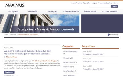 Screenshot of Press Page maximus.com - Categories » News & Announcements | MAXIMUS - captured July 4, 2017