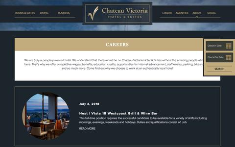 Screenshot of Jobs Page chateauvictoria.com - Careers | Chateau Victoria Hotel and Suites - captured July 17, 2018