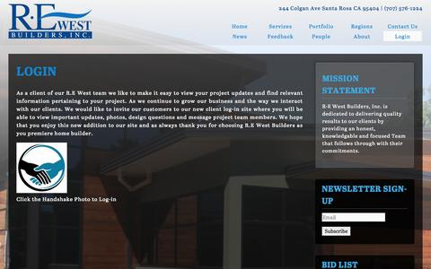 Screenshot of Login Page rewestbuilders.com - Login | R·E West Builders - captured Sept. 30, 2014