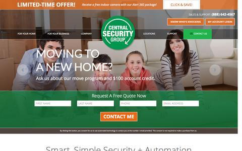 Screenshot of Home Page centralsecuritygroup.com - Central Security Group: Home Security & Alarm Company - captured Sept. 20, 2015
